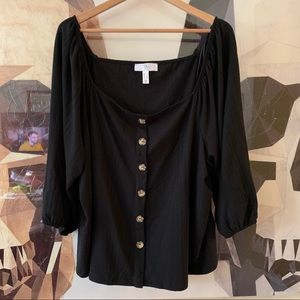 Addition Elle Square neck milk maid button shirt